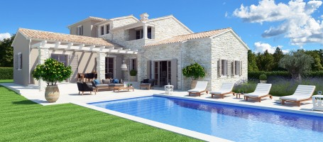 New build stone villa in Croatia